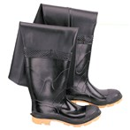 "Onguard Storm King  Hip Waders, PVC/Polyester, Steel Toe, Cleated Outsole, Black, 27"" Ht."