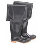 "Onguard Storm King Hip Waders, PVC/Polyester, Plain Toe, Cleated Outsole, Black, 35"" Ht."