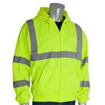 PIP® 323-HSSELY ANSI Type R Class 3 Hooded Safety Sweatshirt, Yellow/Lime