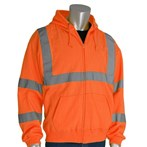 PIP® 323-HSSELY ANSI Type R Class 3 Hooded Safety Sweatshirt, Orange