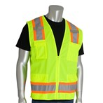 PIP® ANSI Class 2  Six-Pocket Surveyors Safety Vest, Solid Front, Mesh Back, Lime