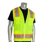 PIP® ANSI Class 2 Surveyors Safety Vest, Eleven Pocket, Two-Tone Knit Front, Mesh Back, Lime