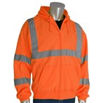 PIP® 323-HSSELY ANSI Type R Class 3 Orange Safety Hooded Sweatshirt
