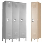 1 Tier Vanguard™ Steel  Recessed Handle Lockers, 3 wide