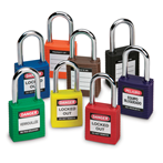 "Safety Padlocks, 1-1/2"" Shackle, Keyed Differently"
