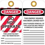 DANGER Do Not Operate/Production Department Tags