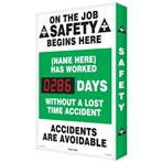 "Digi-Day® Scoreboard- ""(Your name) Has Worked __ Days Without a Lost Time Accident"