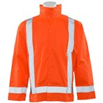 ERB Safety ANSI 107/E Class 3 Ltwt. Oversize Woven Poly Rain Jacket, Detachable Hood, Orange, S373D