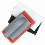 Light-duty scrubber pad w/ handle - White