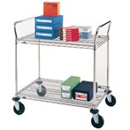 5MP Chrome Heavy-duty Utility Carts, 2 Wire Shelves