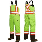Richlu ANSI Class E Bib Safety Overall, Insulated and Lined, X-Back, Lime