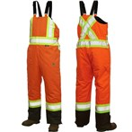 Richlu ANSI Class E Bib Safety Overall, Insulated and Lined, X-Back, Orange
