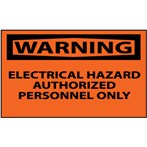 WARNING Electrical Hazard Authorized Personnel Only Label