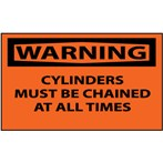 WARNING Cylinders Must Be Chained At All Times Label